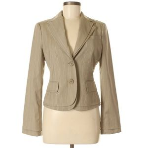 BCBGMAXAZRIA Nika Stripe Tan Jacket Layered Collar